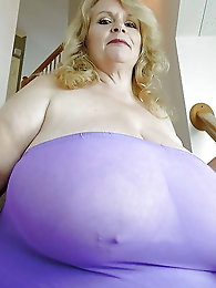 Blonde old MILF is covered with jizz