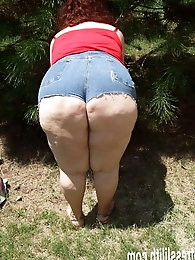 Plumper in short torn shorts and outdoors - from my aged website 2008