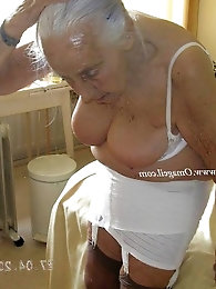 Older grandmother Annabelle getting naked.